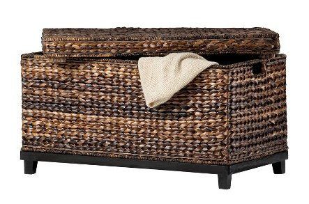 Brown Wicker Storage Trunk Coffee Table Home Kitchen