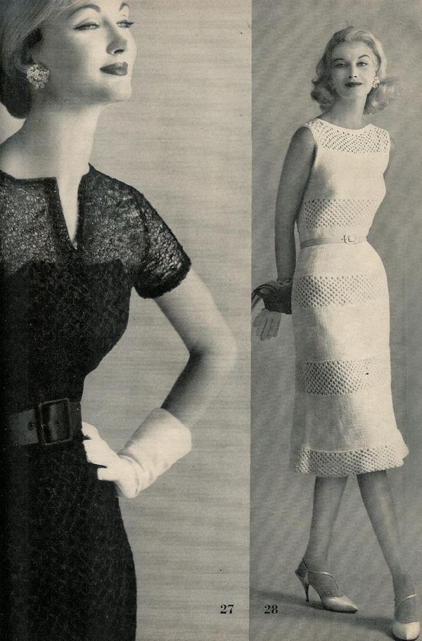 Vogue Vintage Knitting Patterns : Vogue Knitting 1960 Two Vintage Evening Dress Patterns Retro Mod Mad