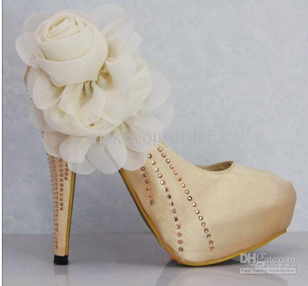 Wholesale nice women shoes wedding shoes inner platform big flower