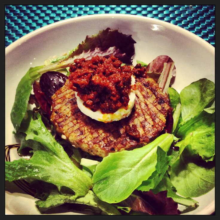 ... quinoa burgers with mixed greens, goat cheese and sun dried tomato