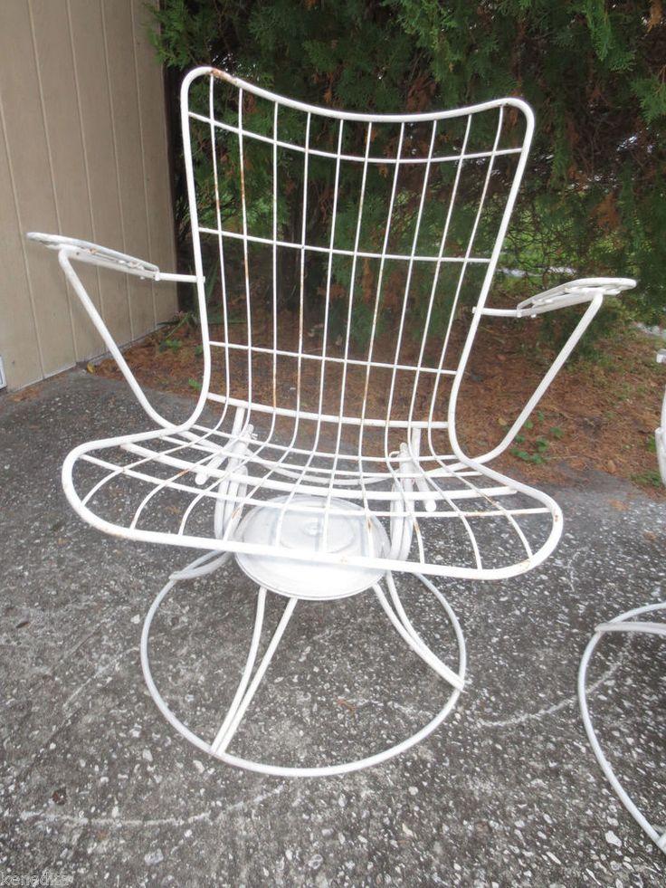 Vintage Wire Mid Century Modern Swivel Lounge Chair Eames Era Rocker