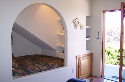 bed built into wall dealing w eaves. Black Bedroom Furniture Sets. Home Design Ideas