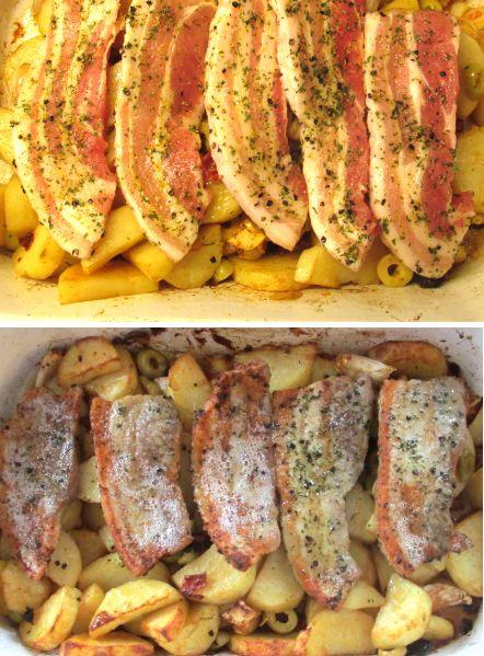 speklapjes uit de oven met aardappeltjes