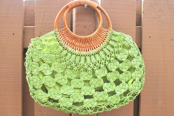 Crochet Purse Patterns With Wooden Handles : Vintage Green Crochet Bamboo Wood Handles Hobo Purse by MyBlueBag, $20 ...