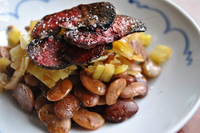 Lima Beans with Beet Chips and Leeks | It's what's for dinner | Pinte...
