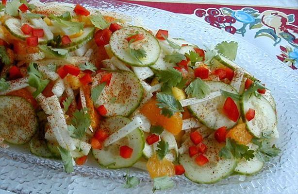 Jicama,orange,cucumber,mango salad