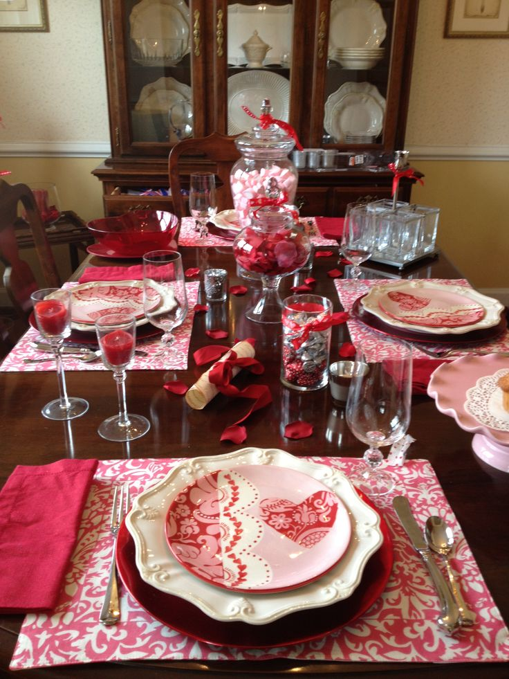 Valentine 39 s day table setting table settings pinterest - Valentine s day table setting ...