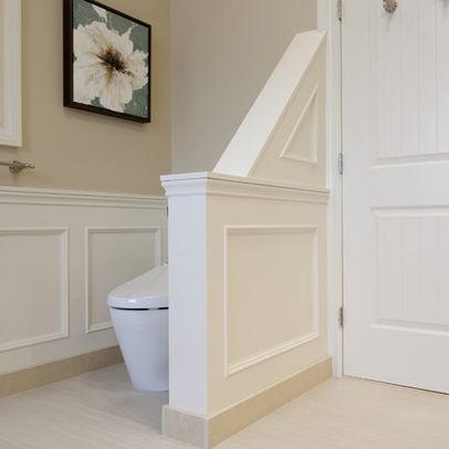 Half wall separation bathroom pinterest