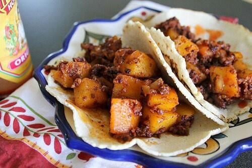 Tacos de papa con chorizo | Future | Pinterest