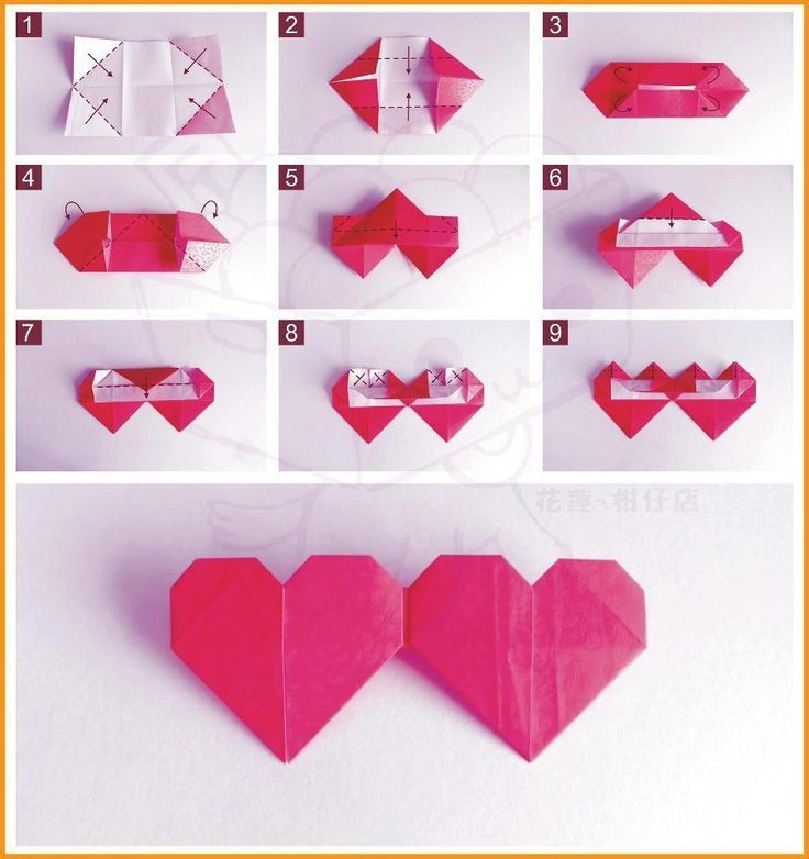 How to fold double origami heart origami papercraft - How to make paper love hearts ...