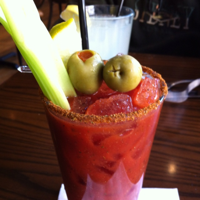 Bloody Mary, hope that is celery salt on the rim!!!