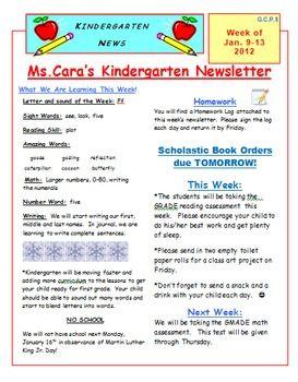 elementary weekly newsletter template school ideas pinterest. Black Bedroom Furniture Sets. Home Design Ideas