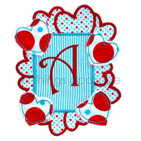 Heart frame patch valentine applique design machine