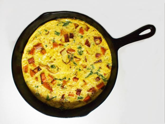 frittata with butternut squash, caramelized onions, & mustard greens ...