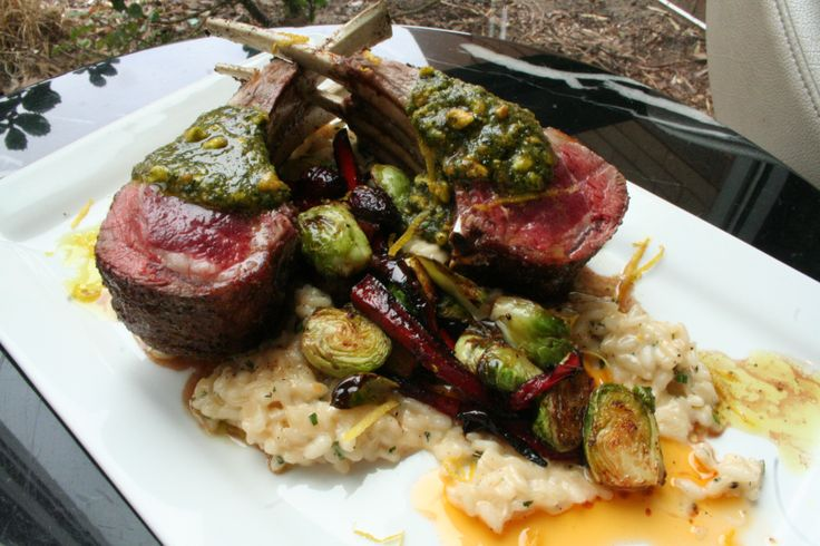 ... pistachio pesto over herb risotto, accompanied by roasted Brussels