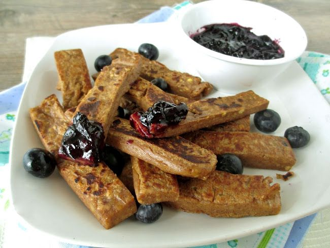 Breakfast Chickpea Fries with Blueberry Sauce
