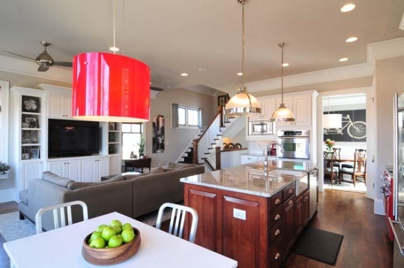 living room and kitchen together