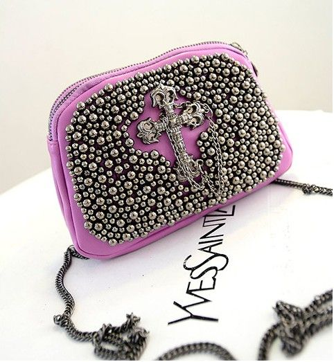 Punk Purple PU Leather Messenger Bag Cool Rivet & Cross Girls Mini ...