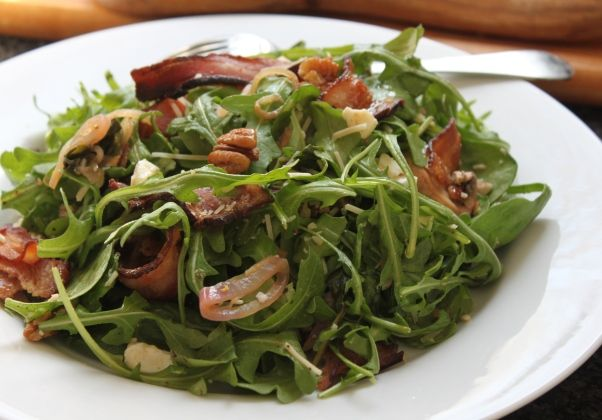 ... Bacon | Recipe Warm Spinach Arugula Salad with Bacon, Eggs and Pecans
