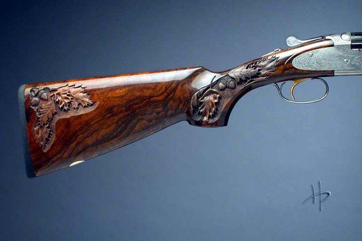 Gun stock carving by joe cummings wood engraved guns