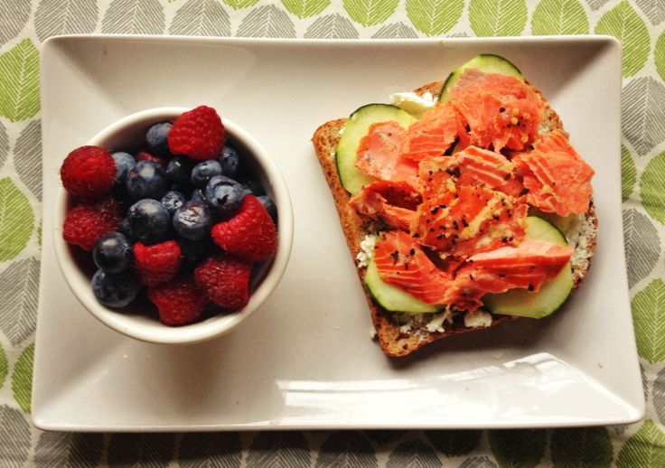 ... toast with goat cheese, cucumber slices, and smoked salmon with a side