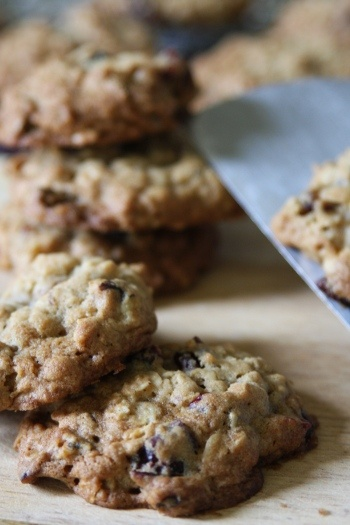 Chocolate Chunk Oatmeal Cookies with Pecans and Dried Cranberries