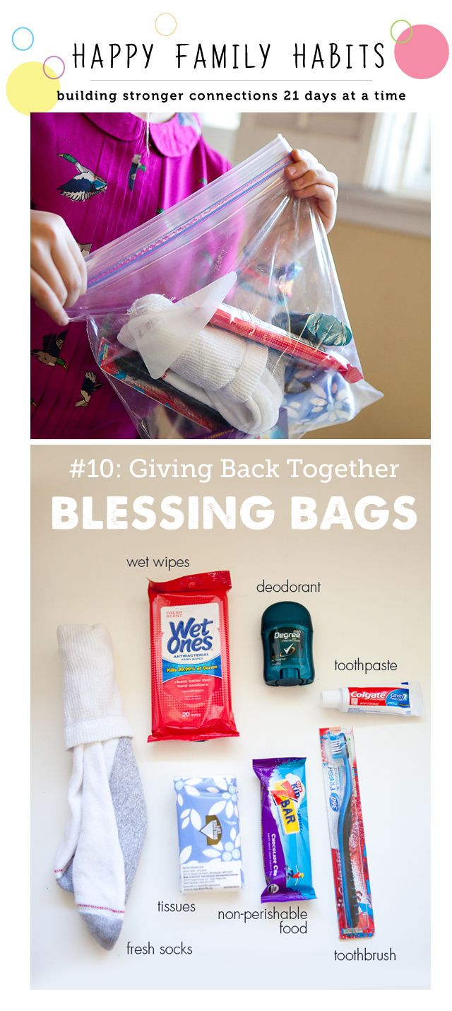 """How to make a blessing bag for the homeless - part of a great series on making closer families through """"Happy Family Habits"""""""