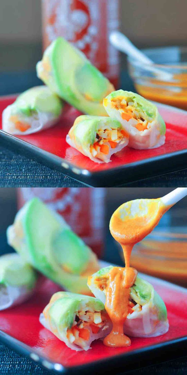Avocado Shiitake Spring Rolls | Vegetarian Asian Recipes | Pinterest