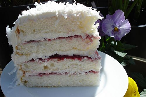 dorie's perfect party cake with rasp jam