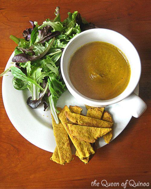 Clean Program Curried Cauliflower & Squash Soup with Quinoa Flatbread