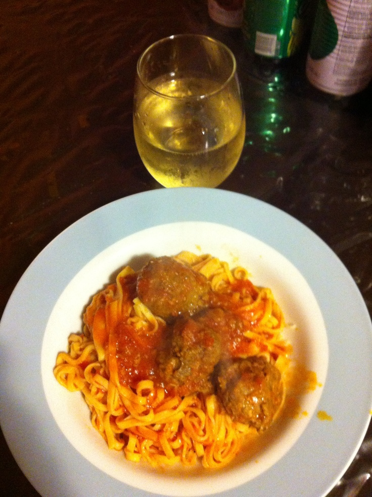 ... beef and turkey meatballs and fresh pasta with marinara sauce