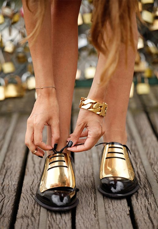 Gold Plated Oxfords Shoes