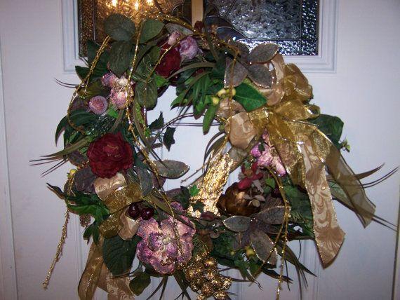 Elegant christmas burgundy and gold wreath centerpiece