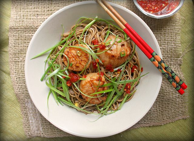 Ginger-scallion scallops with soy-citrus soba noodles by Care's ...