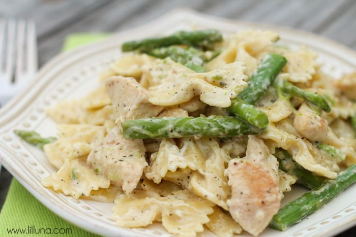Chicken and Asparagus Pasta - I added mushrooms and just used milk ...