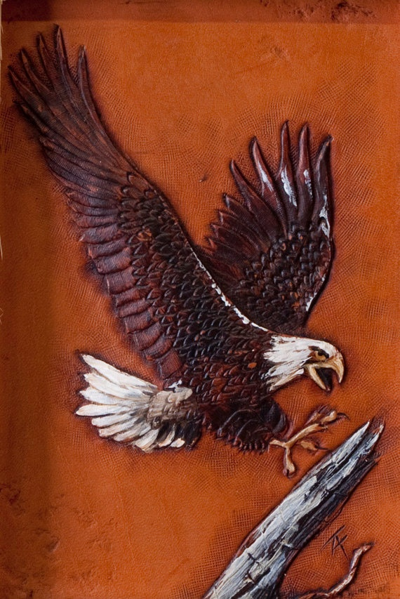 Eagle leather carving by troy anderson andersontroy