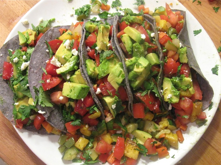 """Eat Your Colors"""" Roasted Veggie Tacos (blue corn tortillas filled ..."""