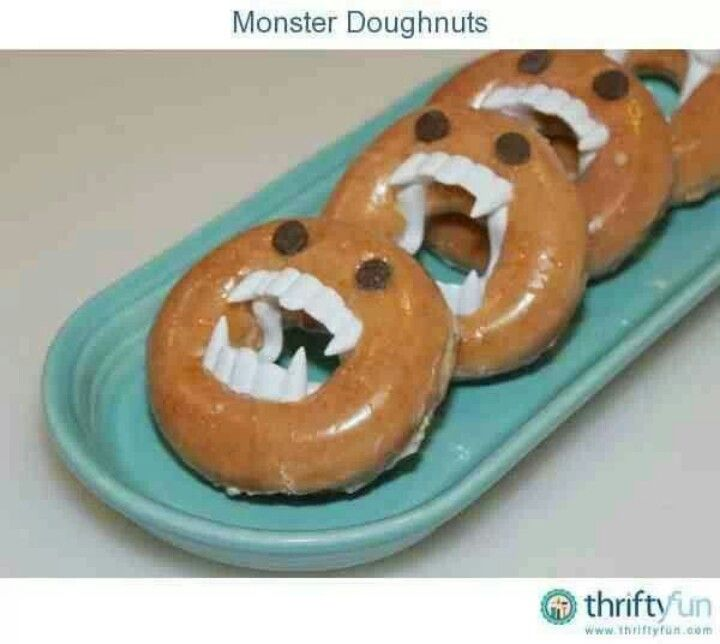 Would do it with home-made baked doughnuts. Kids get to use fangs ...