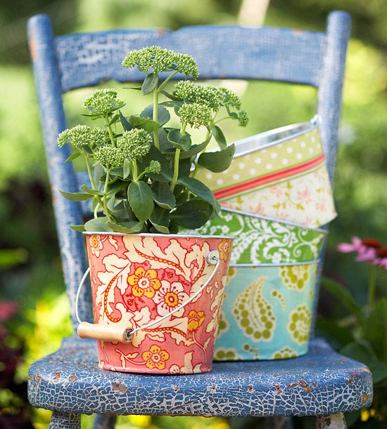 Fabric & mod Podge what a great way to spruce up a plain pail