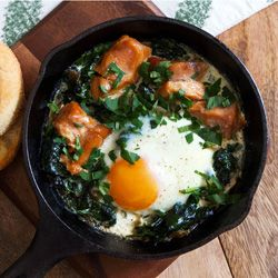 eggs with wilted baby spinach recipe yummly baked eggs with wilted ...