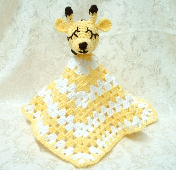Crochet Pattern Giraffe Blanket : Babys Sleepy Giraffe Security Blanket - crochet