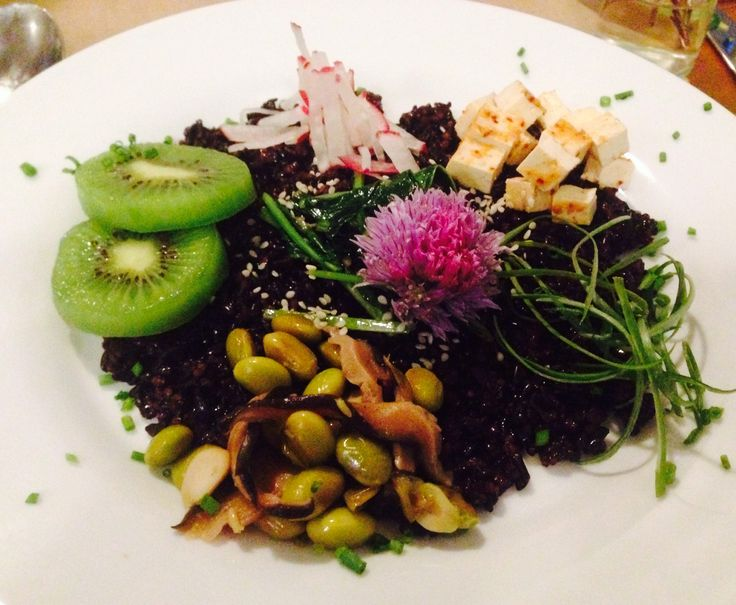... sesame, scallion, chive blossom, mango, tofu, sautéed garlic, spinach