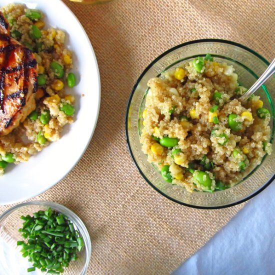 Quinoa with Edamame and Corn--a delicious vegetarian main dish. Or ...