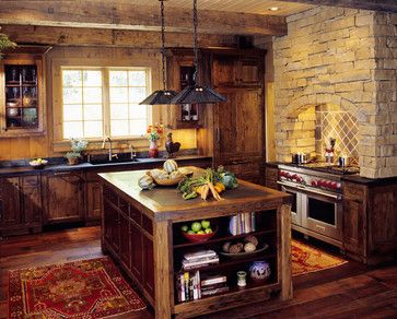 Mountain Cabin Traditional Kitchen Favorite Places Spaces Pinte