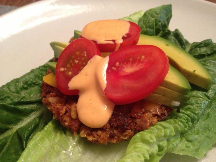 ... kidney & garbanzo bean burger with avocado, tomato and sriracha mayo