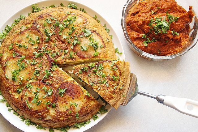 Who wants brunch? Vegetarian Spanish Tortilla with Romesco Sauce from ...