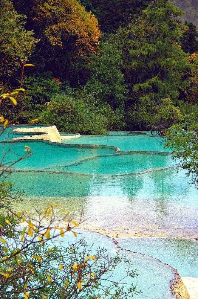 Natural pools, Huanglong, Sichuan, China Incredible