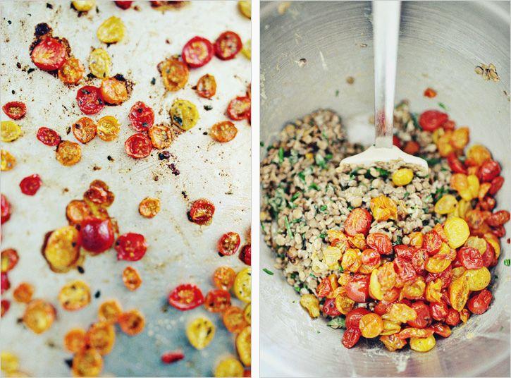 Summer Tomato Lentils (lentils, lemon zest and juice, goat cheese ...