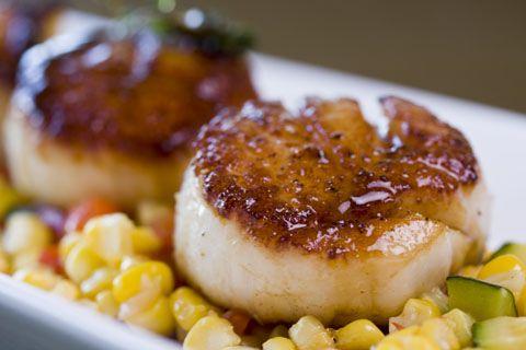 Seared sea scallops with corn succotash!