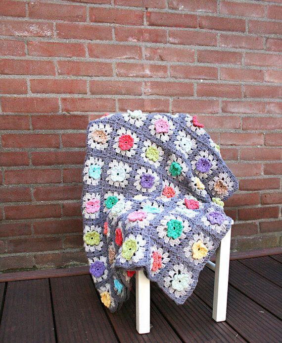 Crochet Flower Granny Square Blanket Pattern : Granny Square Bobble Flower Blanket Crochet pattern - pdf ...